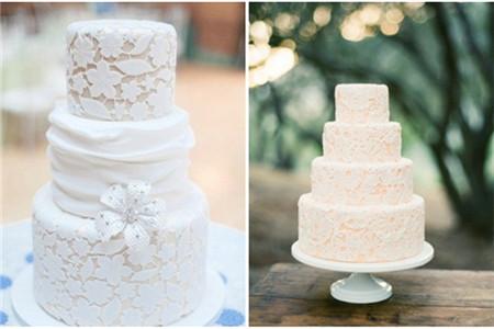 淡色系的蛋糕配上白色的蕾丝,优雅大气.图片